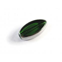 Grüne Fensterperle 18x10mm oval Silberrahmen