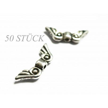 50x silber Engelsflügel Metallperlen 21x8x3mm silberfarbene Flügel Spacer - Schmuckzubehör Metallperlen