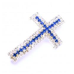1x blau silber Strass Kreuz Schiebeperle 40x23mm Innen ca. 3mm Strasskreuz Perle - Schmuckzubehör Schiebeperle
