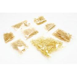800 gold Kettstifte Mix 16mm bis 50mm goldfarben Schmuckdraht mit Öse - Schmuckzubehör Kettelstifte