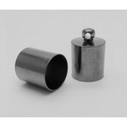 2x Edelstahl gunmetal Endkappe 13x9mm Innen 8,5mm metallschwarze Einklebkappe mit Öse - gunmetal Schmuckzubehör Endkappe