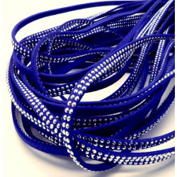 1m pflaumenblaues Kunstlederband 5mm mit Nieten blaues Schmuckband in Wildlederoptik für Armbänder - Schmuckzubehör Lederband