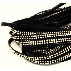 1m schwarzes Kunstlederband 5mm mit gold Nieten schwarzes Schmuckband in Wildlederoptik für Armbänder - Schmuckzubehör Lederband