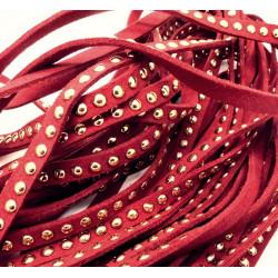 1m bordeaux Kunstlederband 8mm mit Nieten weinrotes Schmuckband in Wildlederoptik für Armbänder - Schmuckzubehör Lederband