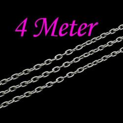 4m silber Kette 3x4,6x0,9mm silberfarbene Schmuckkette Gliederkette - Schmuckzubehör