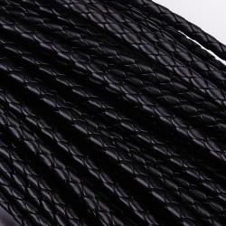 1m Lederschnur 6mm schwarze geflochtene Kunstlederkordel für Lederarmband - Schmuckzubehör Lederband