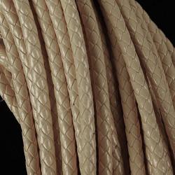 1m beige PU-Lederkordel 6mm Lederschnur für Lederarmband geflochtene Lederkordel - Schmuckzubehör