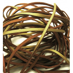 1m gold Lederband 3mm Stärke 1,5mm goldfarbenes Echtlederband - Leder Schmuckzubehör