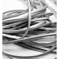 1m silber Lederband 3mm Stärke 1,5mm silberfarbenes Echtleder Band - Leder Schmuckzubehör