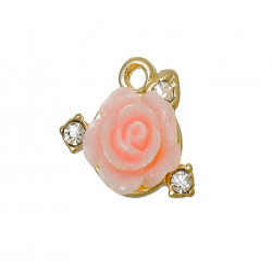 1x rosa Rosen Anhänger mit Strass ca. 15x13mm gold Schmuckanhänger mit Rose - Schmuckzubehör