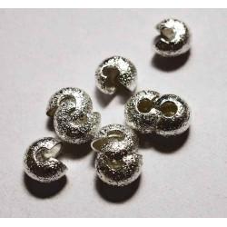 10 silber Stardust Kaschierperlen 4x5mm silberfarbene Stardust Cover Crimp Perlen - Schmuckzubehör