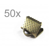 50x bronze Bandklemme 8mm bronzefarbene Bandklemmen - bronze Schmuckzubehör