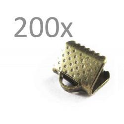200x bronze Bandklemme 8mm bronzefarbene Bandklemmen - bronze Schmuckzubehör