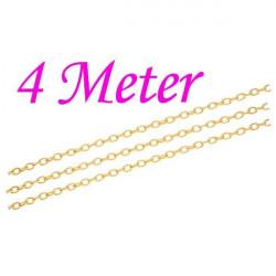 4m gold Kette 3x4,6x0,9mm goldfarbene Gliederkette gold Schmuckkette - gold Schmuckzubehör