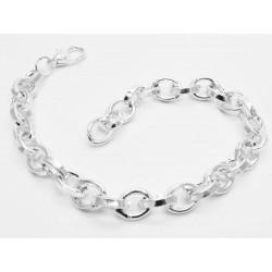 Hellsilber Armband stufenlos bis 20cm platinfarbenes Gliederarmband Bettelarmband aus Metall - Schmuckzubehör
