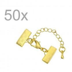 50x 15mm Bandklemme gold Verschluss mit Karabiner und Kette goldfarben - gold Schmuckzubehör