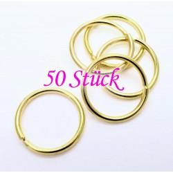 50x stabiler gold Biegering 20mm Stärke 2mm rund Biegering goldfarben - Schmuckzubehör Biegering