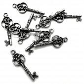 1x gunmetal Anhänger Schlüssel ca. 10x28mm gunmetal Schmuckanhänger - Schmuckzubehör