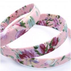 20cm geblümtes rosa Schmuckband 10mm Stärke 2mm für Armband und Wickelarmband - Schmuckzubehör Schmuckband