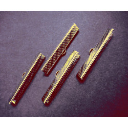 4x gold Bandklemme 40mm goldfarbene Bandklemmen - Schmuckzubehör