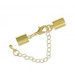 1x gold Verschluss 38x8mm Innen 7,5mm Endkappe zum Einkleben mit Karabiner zum Einkleben - Schmuckzubehör Endkappe