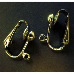 2 Stück SUPER vergoldete Ohrclips ca. 17x14x7,6mm goldfarben - Schmuckzubehör zum Ohrclips selbermachen