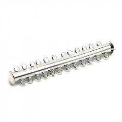 1x hellsilber Magnetverschluss für 12 Stränge 60x10mm platinfarbener Schmuckverschluss - Schmuckzubehör Magnetverschluss