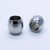 1x Edelstahl Perle 10x10mm Loch 6mm Olive silber Spacer Metallperle - Edelstahl Schmuckzubehör