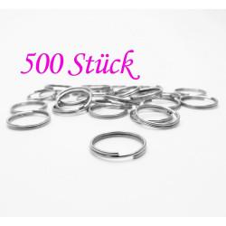 500x Spaltring 12mm rund silber kleiner Schlüsselring - Schmuckzubehör Spaltring