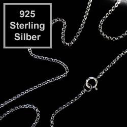 1x 925 Sterling Silber Halskette ca. 44,5cm Stärke 1,5mm Echtsilber Gliederkette mit Karabinerhaken - Schmuckzubehör