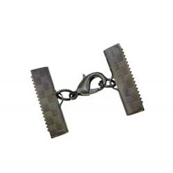 1x 20mm Bandklemme gunmetal Verschluss mit Karabiner gunmetal Schmuckzubehör