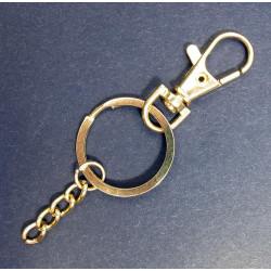 Gold Schlüsselring 28mm mit Kette und Karabiner großer Schlüsselring stabil und massiv - Schmuckzubehör