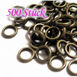500x bronze Biegering 6mm Stärke 1mm rund bronzefarben - bronze Schmucktzubehör