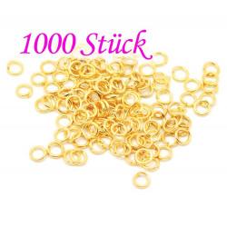 1000x vergoldeter Biegering 5mm 0,9mm Stärke runder goldfarbener Bindering - Schmuckzubehör Biegering