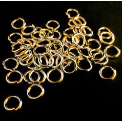 50x vergoldete Biegeringe 5mm Stärke 0,7mm runder goldfarbener Biegering - Schmuckzubehör Biegering