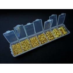 Box mit 1780x gold Biegering 3-9mm rund Spaltring goldfarben - Schmuckzubehör Set