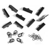 10 gunmetal Bandklemmen 16mm + 5 Karabiner + 10 Biegeringe als Schmuckzubehör Set für Halsband - gunmetal Schmuckzubehör Set