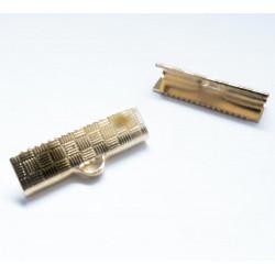 10x rosegold Bandklemme 15mm II.Wahl rose goldfarben karierte 15mm Bandklemmen - Schmuckzubehör