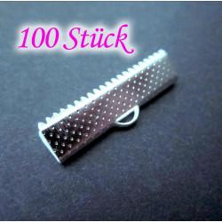 100x Bandklemme 25mm hellsilber platinfarbene Bandklemmen - Schmuckzubehör