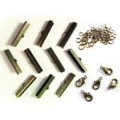 10 bronze Bandklemmen 35mm + 5 Karabiner + 10 Biegeringe als Schmuckzubehör Set für Halsbänder - bronze Schmuckzubehör Set