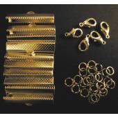 10x gold Bandklemmen 35mm + 5 Karabiner + 10 Biegeringe als Schmuckzubehör Set für Halsbänder - Schmuckzubehör Set