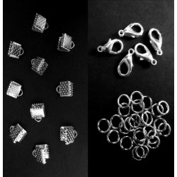 10 silber Bandklemmen 6mm + 5 Karabiner + 10 Biegeringe als Schmuckzubehör Set für Halsbänder - Schmuckzubehör Set