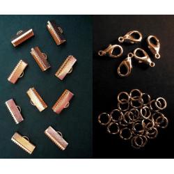 10 rosegold Bandklemmen 16mm + 5 Karabiner + 10 Biegeringe als rose gold Schmuckzubehör Set für Halsbänder - Schmuckzubehör Set