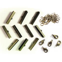10 bronze Bandklemmen 25mm + 5 Karabiner + 10 Biegeringe als Schmuckzubehör Set für Halsbänder - bronze Schmuckzubehör Set