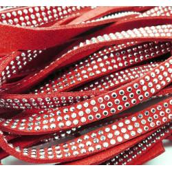 1m rotes Kunstlederband 8mm mit Nieten rotes Schmuckband in Wildlederoptik für Armbänder - Schmuckzubehör Lederband