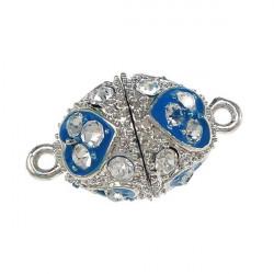 1x blau silber Strass Magnetverschluss 23x14mm Schmuckverschluss mit Strass - Schmuckzubehör Magnetverschluss