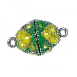 1x grün gelber Strass Magnetverschluss 23x14mm Schmuckverschluss mit Strass - Schmuckzubehör Magnetverschluss