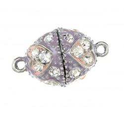 1x rosa lila Strass Magnetverschluss 23x14mm Schmuckverschluss mit Strass - Schmuckzubehör Magnetverschluss