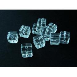 10x transparent farblos Kristallglas Würfel Perlen 8x8mm - Schmuckzubehör
