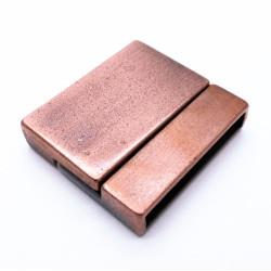 1x kupfer Magnet Verschluss 22x24x5,5mm Innen 21x3mm kupfer Einklebverschluss - kupfer Schmuckzubehör